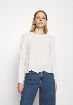 Rich & Royal - LONGSLEEVE WITH BROIDERIE ANGLAISE - Bluse - pearl white