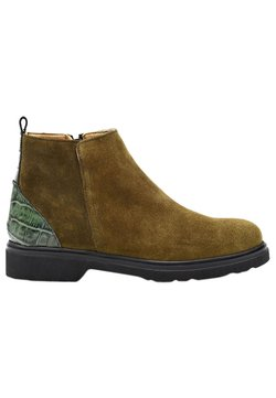 Fertini - Ankle Boot - brown suede with khaki croco detail