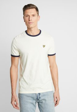 Lyle & Scott - RINGER TEE - T-shirt basic - buttercream/navy