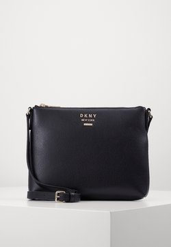 DKNY - WHITNEY FLAT CROSSBODY - Umhängetasche - black/gold