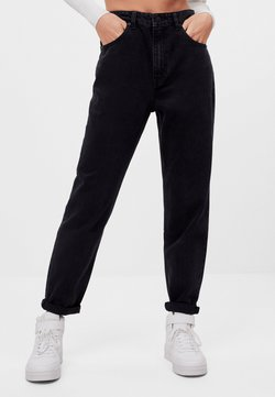 Bershka - MIT UMSCHLAG  - Relaxed fit jeans - black
