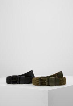 Urban Classics - ELASTIC BELT 2 PACK - Flettet belte - black/olive