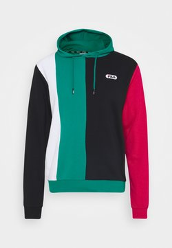 Fila - BAIRN - Sweat à capuche - black/teal green/bright white/cerise