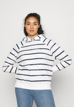 CAPSULE by Simply Be - STRIPE HOODIE - Sweatshirt - ivory/navy