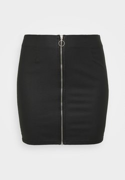 Pieces Curve - PCROXY ZIP COATED SKIRT - Minirock - black