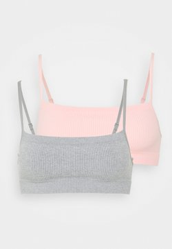 Cotton On Body - SEAMFREE STRAIGHT NECK CROP 2 PACK - Alustoppi - grey/fairy tale