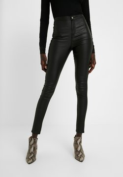 Missguided Tall - HIGH WAISTED COATED - Trousers - black