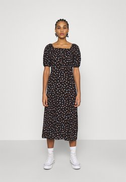 Even&Odd - WOVEN MIDI SWEATHEART NECKLINE PRINTED - Maxikleid - black/white
