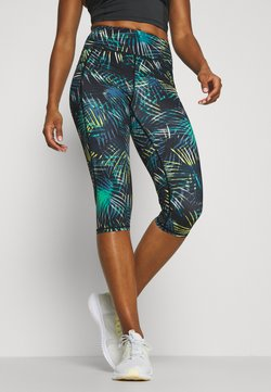 Sweaty Betty - GRAVITY SCULPT CAPRI RUN LEGGINGS - Urheilucaprit - black neon