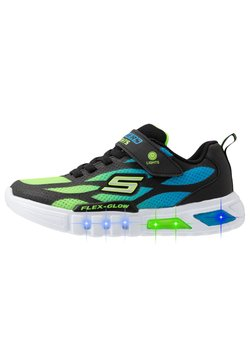 Skechers - FLEX-GLOW - Matalavartiset tennarit - black/blue/lime