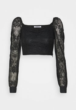 Glamorous - CROP TOP WITH LONG SLEEVES AND SQUARE NECKLINE - Bluzka - black