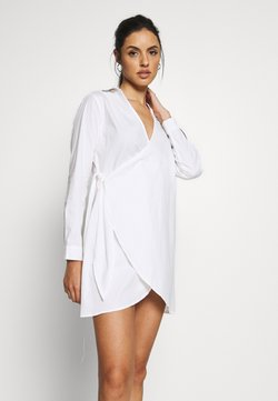 Missguided - WRAP DRESS SWIM COVER UP - Beach accessory - white