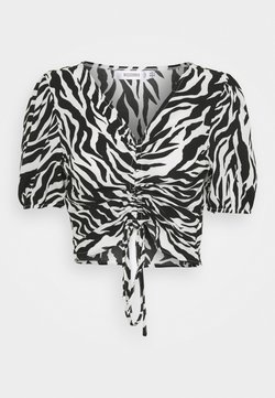 Missguided - ZEBRA RUCHED BLOUSE - Bluse - white