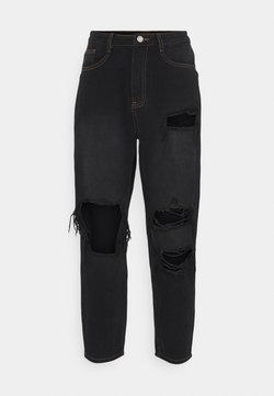 Missguided Petite - PETITE RIOT WASH BUSTED MOM  - Relaxed fit -farkut - black