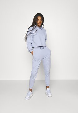Even&Odd - SET - Cropped hoodie with jogger - Kapuzenpullover - blue