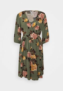 Object Petite - OBJROSE WRAP DRESS - Vestido informal - deep lichen green/flower