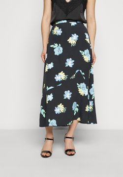 Glamorous Petite - LADIES SKIRT PAINTERLY FLOWER - A-Linien-Rock - dark blue