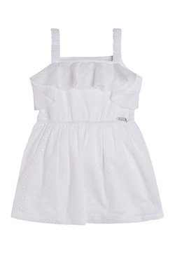 Guess - ROBE DENTELLE VOLANTS - Freizeitkleid - blanc