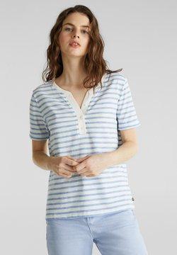 Esprit - HENLEY-SHIRT AUS SLUB-JERSEY, 100% BAUMWOLLE - T-Shirt print - bright blue