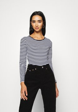 Tommy Jeans - STRIPED CROP LONGSLEEVE - Langarmshirt - twilight navy/white