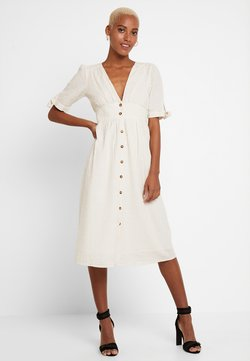 Vero Moda - VMMILA CALF DRESS - Blusenkleid - snow white/oatmeal