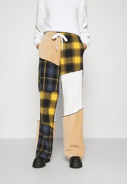 Jaded London - PANELLED WIDE LEG JOGGER MIX CHECK & FABRIC TEXTURES - Tracksuit bottoms - multi