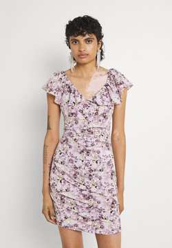 Missguided - FLORAL RUCHED FRONT MINI DRESS - Freizeitkleid - lilac