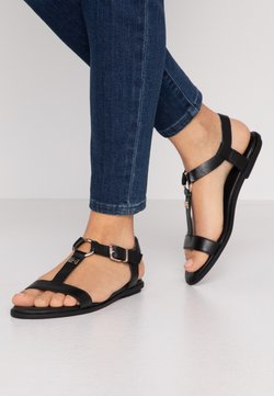 Tommy Hilfiger - FEMININE LEATHER FLAT SANDAL - Sandalen - black