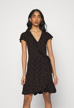 ONLY - ONLVALENTINA FIXED WRAP DRESS - Trikoomekko - black/ditsy