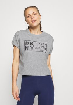 DKNY - BOXY TEE WITH OVERSIZED LABEL - Printtipaita - pearl grey heather
