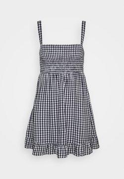 Abercrombie & Fitch - SMOCKED BABYDOLL SHORT DRESS - Freizeitkleid - navy gingham
