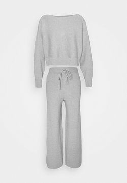 Even&Odd - SET STRICK - Jumper & Wide leg trouser - Strickpullover - mottled light grey