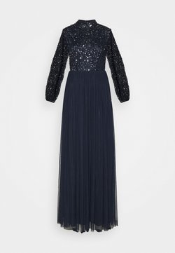 Maya Deluxe - BISHOP SLEEVE DELICATE SEQUIN  WITH KEYHOLE - Vestido de fiesta - navy