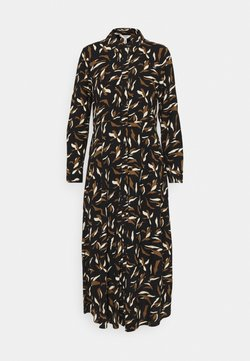 Object - OBJLORENA LONG SHIRT DRESS - Skjortekjole - black sepia/sandshell