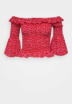 Missguided Tall - DITSY SHIRRED BARDOT - Bluse - red