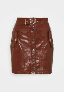 Topshop - BUTTON THROUGH SKIRT - Minirock - chocolate