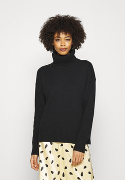 GAP - CROP OVERSIZED TNECK - Strickpullover - true black