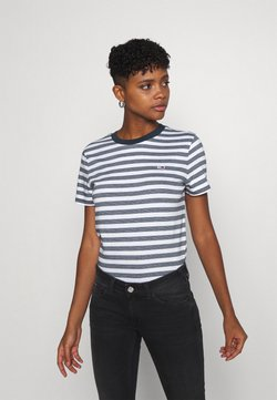 Tommy Jeans - CLASSICS STRIPE TEE - T-Shirt print - white/navy
