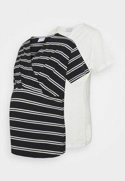 Mamalicious Curve - MLSIA  2 PACK - T-Shirt print - snow white/black