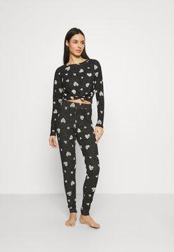 Boux Avenue - FLOCK HEART TIE TOP PANT SET - Pyjama - charcoal
