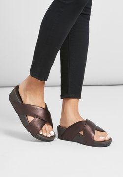 FitFlop - Pantolette flach - chocolate metallic