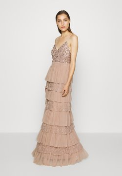 Maya Deluxe - CAMI TIERED MAXI DRESS WITH DETAIL - Robe de cocktail - taupe blush