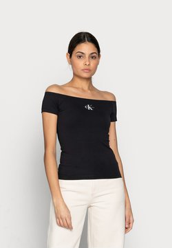 Calvin Klein Jeans - MONOGRAM SLIM BARDOT TOP - T-shirt con stampa - black