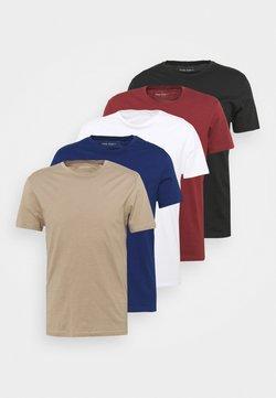 Pier One - 5 PACK - T-shirt basic - white/black/bordeaux