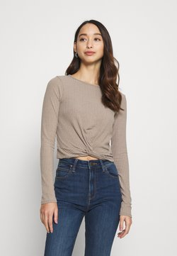 New Look - SOFT TWIST FRONT CROP - Maglietta a manica lunga - mink