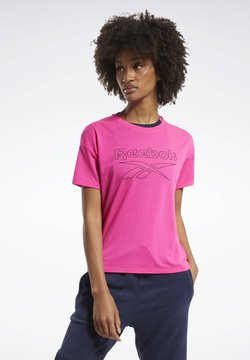 Reebok - WORKOUT READY SUPREMIUM SLIM FIT BIG LOGO T-SHIRT - Printtipaita - pink