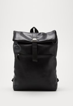 Pier One - UNISEX LEATHER - Tagesrucksack - black