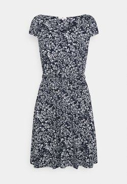 TOM TAILOR - DRESS WITH BELT AND SLEEVES - Jerseykleid - navy/off-white