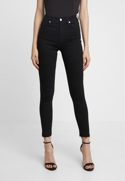 NA-KD - HIGH WAIST OPEN HEM - Jeans Skinny Fit - black