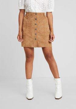 Selected Femme Petite - SLFAVI SPLIT SKIRT - A-line skirt - tigers eye